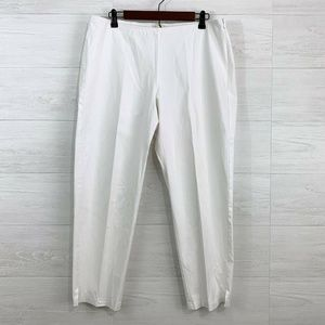 Eileen Fisher White Organic Cotton Side Zip Pant